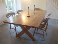 Bespoke Welsh Oak Cross-Legged Dining Table by Uniqueworks Handmade Furniture.