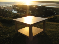 Welsh Oak Coffee Table at Sunset. Uniqueworks Handmade Furniture