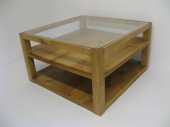 Glass Topped Welsh Oak Showcase Coffee Table by Uniqueworks Handmade Furniture