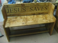 Salvation Army Prayer Seat 1. Jesus Saves by Uniqueworks Handmade Furniture