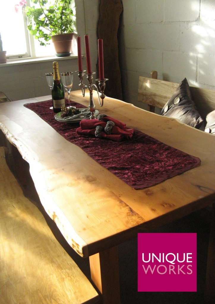 Yew Refectory Style Dining Table by Uniqueworks Handmade Furniture. Logo