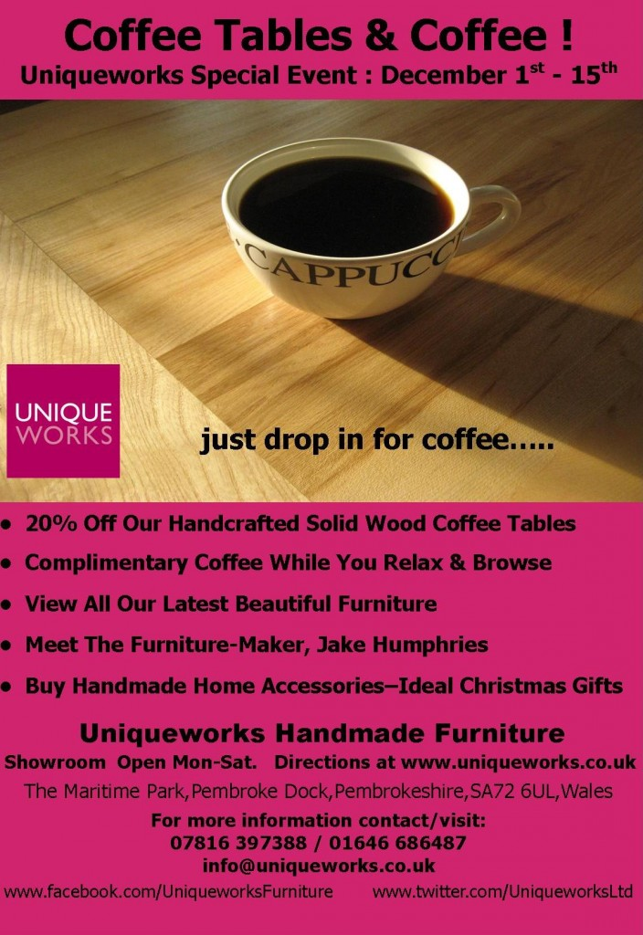 Coffee Tables & Coffee! Special Event. Uniqueworks Handmade Furniture.