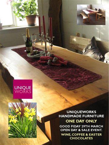 Uniqueworks Handmade Furniture.Good Friday Event. Showroom & Daffodils