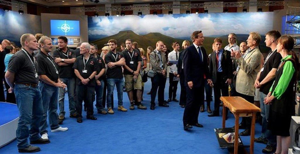 Jake Humphries & Stephanie Smith of Uniqueworks Handmade Furniture Meet David Cameron.NATO Summit Wales 2014.Arron Hoare