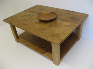 Welsh Lion-s Paw Oak Coffee Table by Uniqueworks Handmade Furniture. Diag Bowl