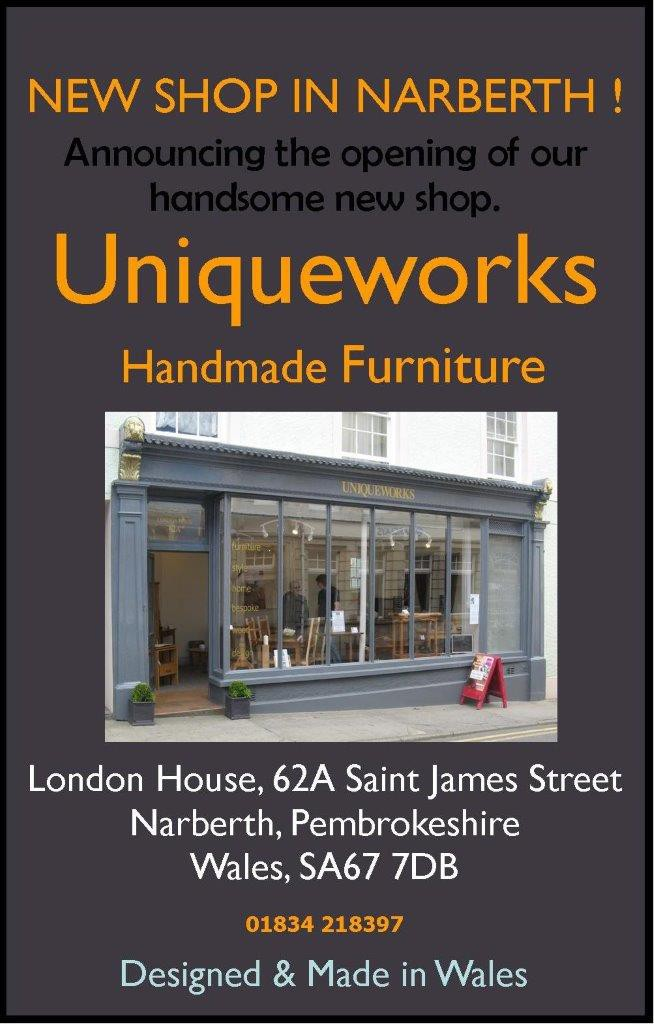 Uniqueworks- Narberth New Shop Advert For Home Page. June15