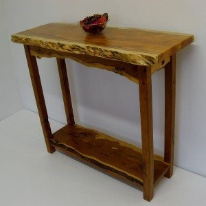 Wavy Welsh Yew Console Table. SOLD