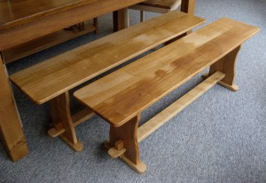 A Pair of Welsh Oak Benches.  SOLD