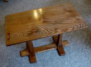 Dark Welsh Elm Cross Leg Occasional Table. SOLD