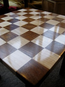 Checkerboard Occasional Table in Dark Welsh Oak & Sycamore  by Uniqueworks Handmade Furniture