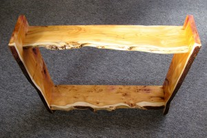 Funky Wavy-Edged Yew Wood Shelves.   SOLD
