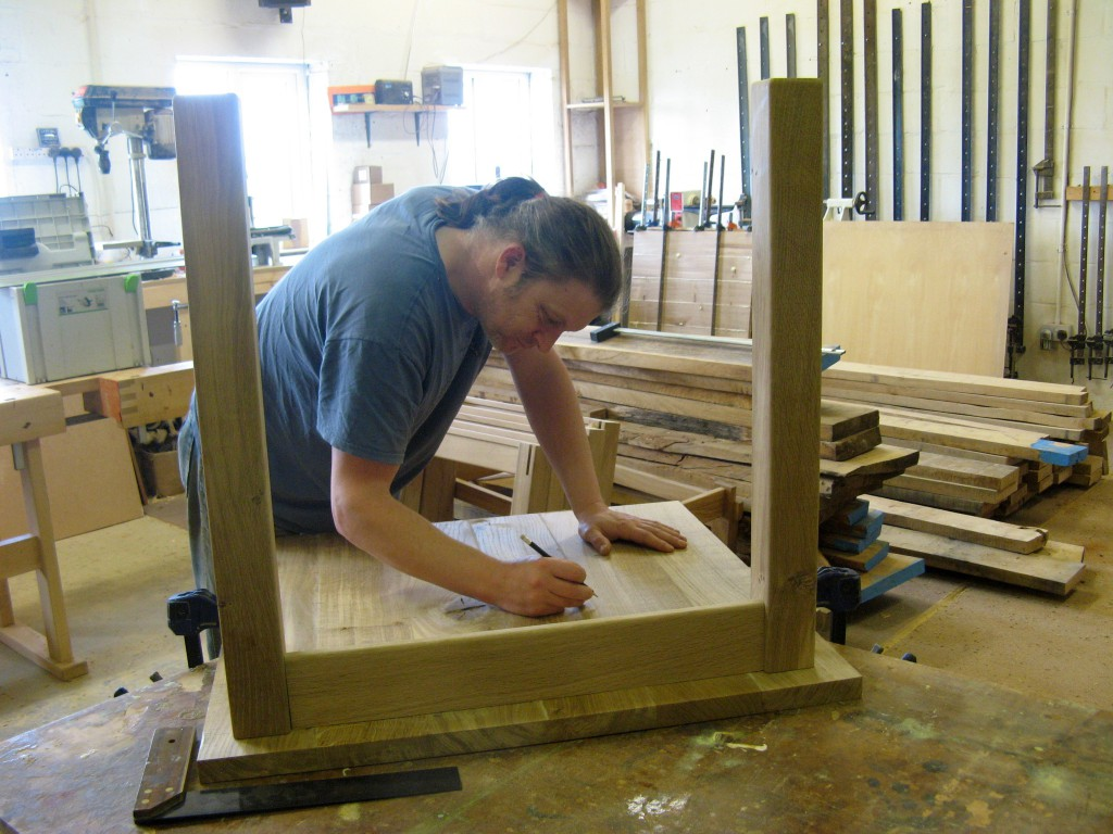 Jake Humphries of Uniqueworks Handmade Furniture at Work on the First Table for the Pembroke Castle Project