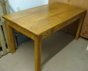 Stained Pine Dining Table - Medium Oak Stain. 150x80cm.