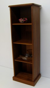 Narrow Sapele Mahogany Bookcase.