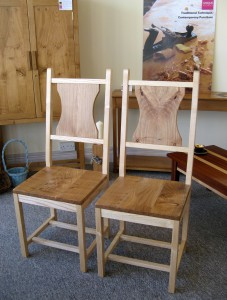 A Pair of Welsh Ash & Elm Dining Chairs.   SOLD