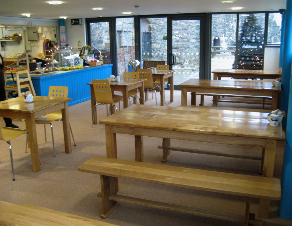 The New Bespoke Dining Tables & Benches by Uniqueworks in the Pembroke Castle Cafe