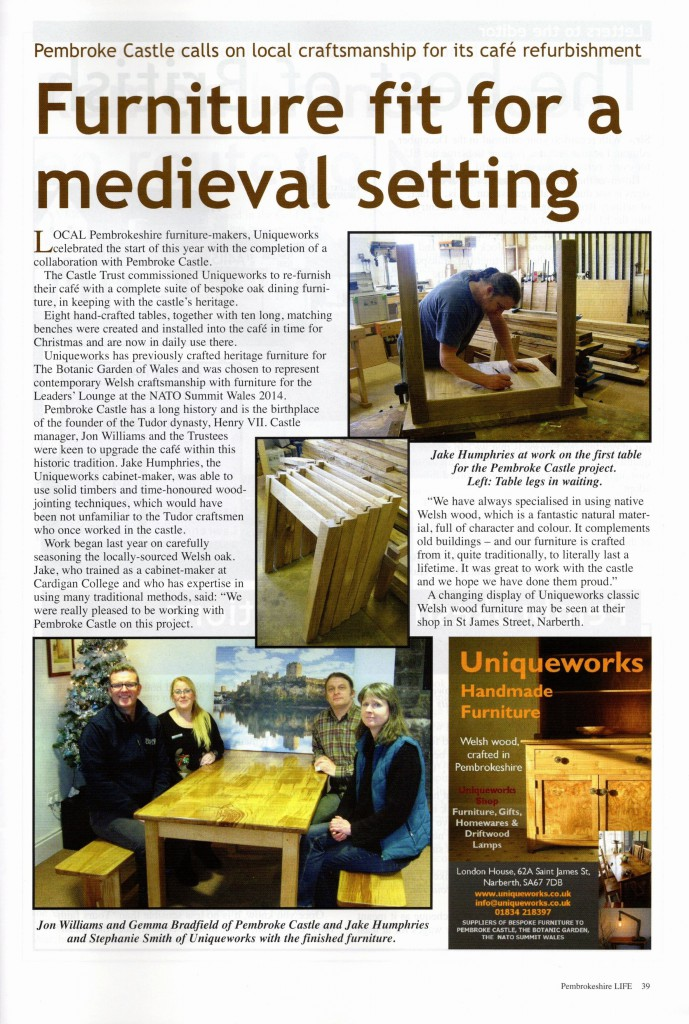 Uniqueworks - Pembroke Castle Furniture Project Article in Pembrokeshire Life Magazine. Feb 2017
