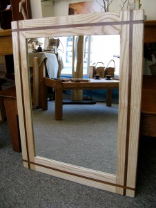 Welsh Ash Mirror with Walnut Inlay