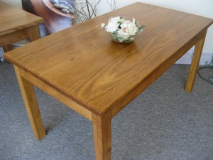 Distressed Pine Dining Table - Medium Oak Stain. 150x80cm.