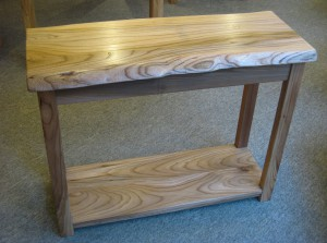 Funky Wany-Edge Elm Console.  SOLD
