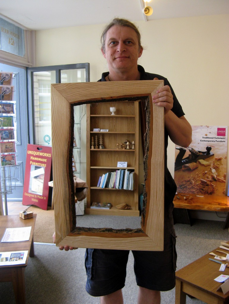Jake Humphries with His Natural Welsh Ash Mirror at Uniqueworks of Narberth. IMG_9559