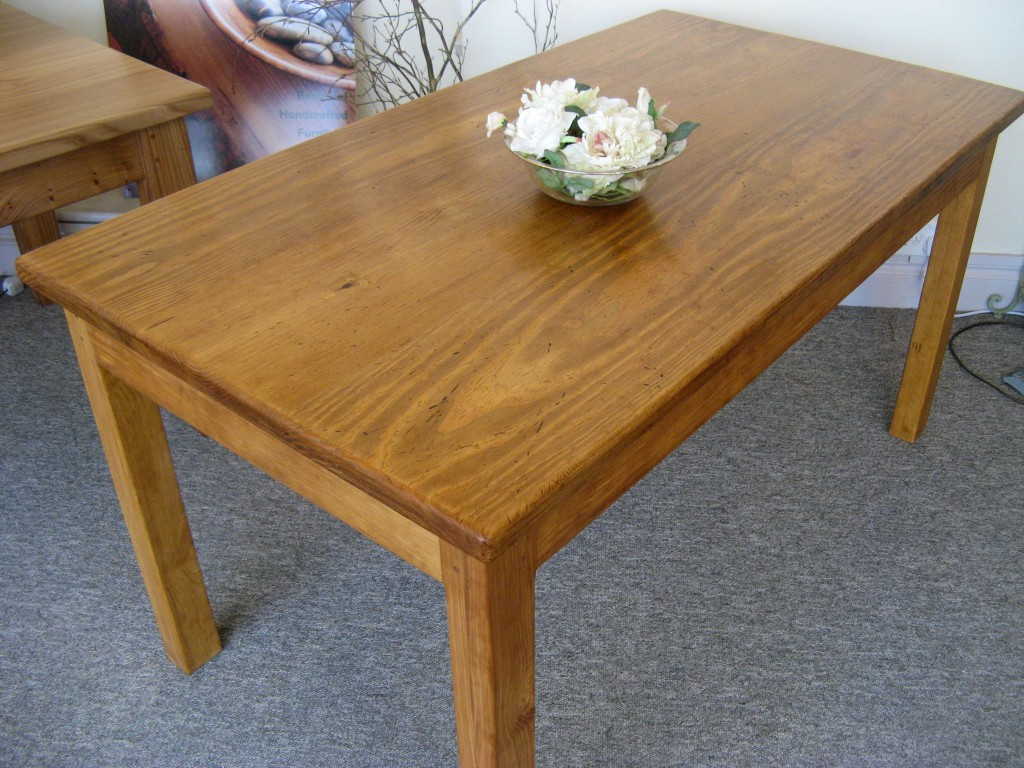 Distressed Pine Dining Table - Medium Oak Stain, by Uniqueworks Handmade Furniture. IMG_9436