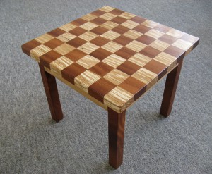 Checkerboard Occasional Table - Spalted Beech & Vintage Mahogany. SOLD