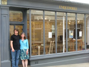 Jake Humphries & Stephanie Smith of Uniqueworks Handmade Furniture Outside Their New Shop in Narberth, Pembrokeshire