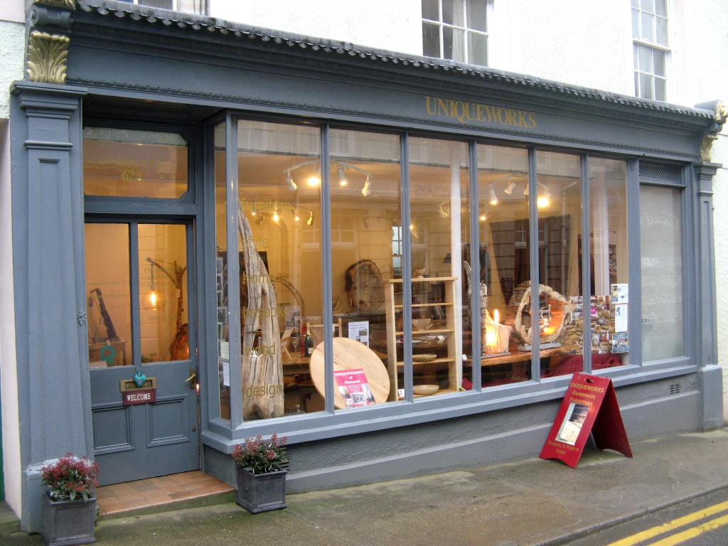 Uniqueworks Handmade Furniture of Narberth. Driftwood Lamps Window Display.