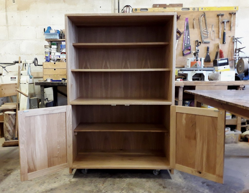 Welsh Oak Kitchen Dresser by Uniqueworks Handmade Furniture. Open