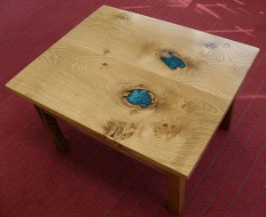 Welsh Oak & Turquoise Metallic Resin & LED Coffee Table.  £725