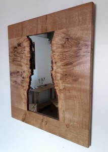 Natural-Edge Oak Burr Oak Mirror.  £295