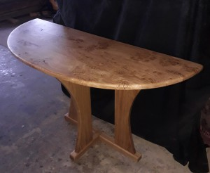 Oak Burr Demilune Table.  £750