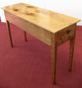 Welsh Oak & Red Resin & LED Console Table.  £750